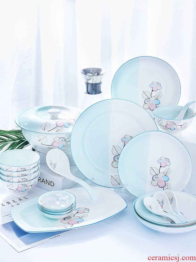 4 dishes suit household contracted to eat bread and butter plate combination of European ipads porcelain of jingdezhen ceramics tableware 6 people