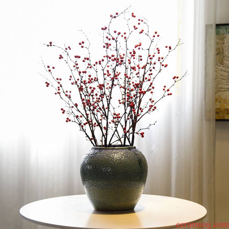 Jingdezhen manual coarse pottery frosted mesa vase mercifully glaze decoration flower implement new Chinese style flower simulation flower decoration