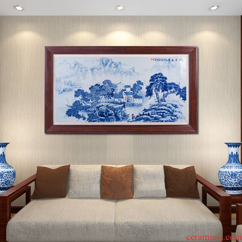 Jingdezhen ceramics hand - made of blue and white porcelain plate painting Chinese landscape painting in the sitting room adornment to hang a picture to a single office