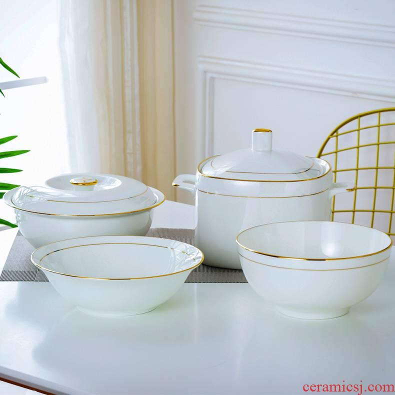 Jingdezhen porcelain up phnom penh ipads soup pot ceramic soup basin contracted ideas of circular with cover not hot large soup bowl