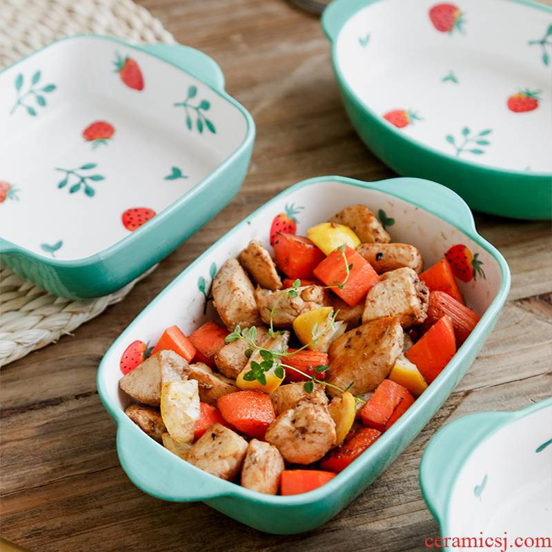 Ins creative home plate special oven baked FanPan ceramics for jobs strawberry pan baked baked tableware bowls