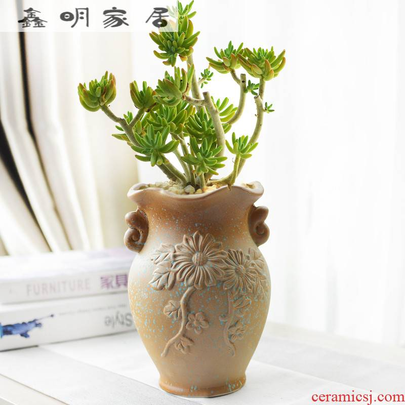 Mage flowerpot wholesale large caliber thick fleshy old running the clay pottery to restore ancient ways small old running the breathable meat meat the plants flower pot