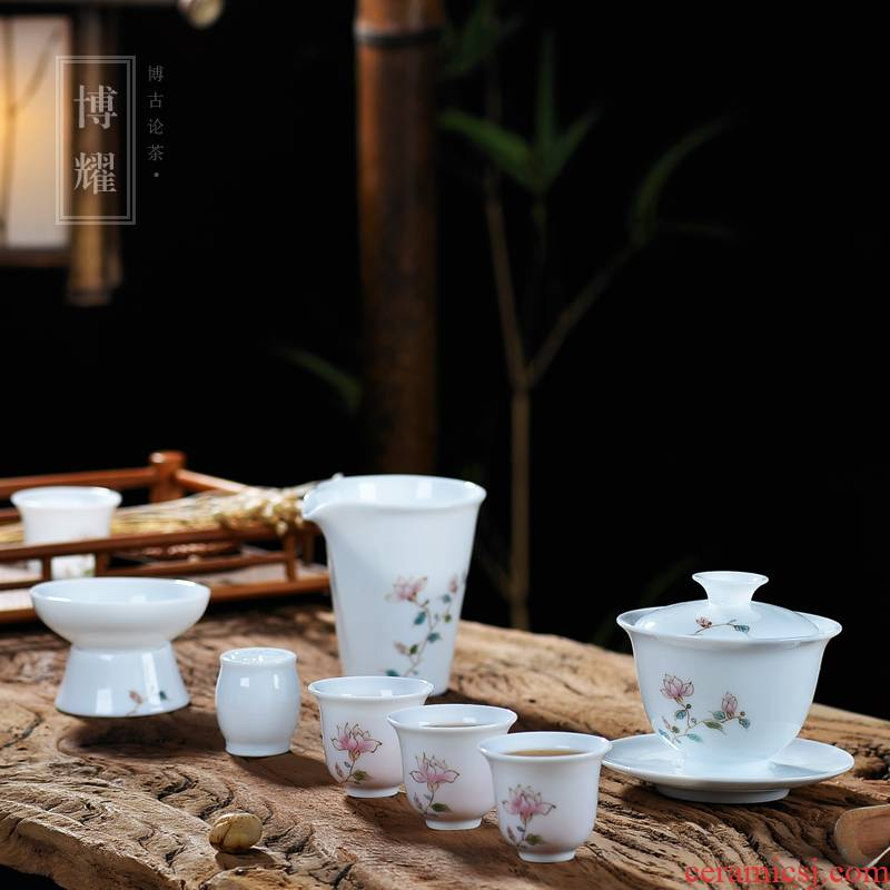 Bo yiu-chee jingdezhen hand - made tureen tea cups household kung fu tea set gift set of blue and white porcelain of a complete set of gift boxes
