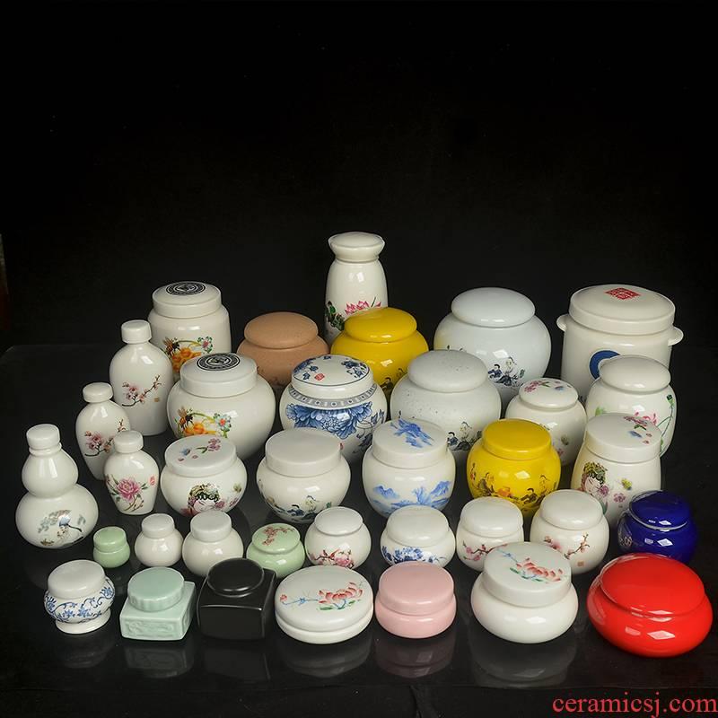 Paste pot ceramic seal plaster medicine can honey pot powder ceramic tea pot customize logo