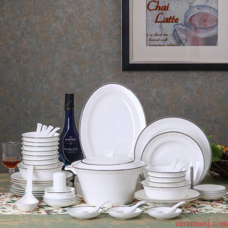 Jingdezhen ceramic tableware portfolio high - grade household contracted Europe type ipads porcelain tableware suit dish dish bowl chopsticks