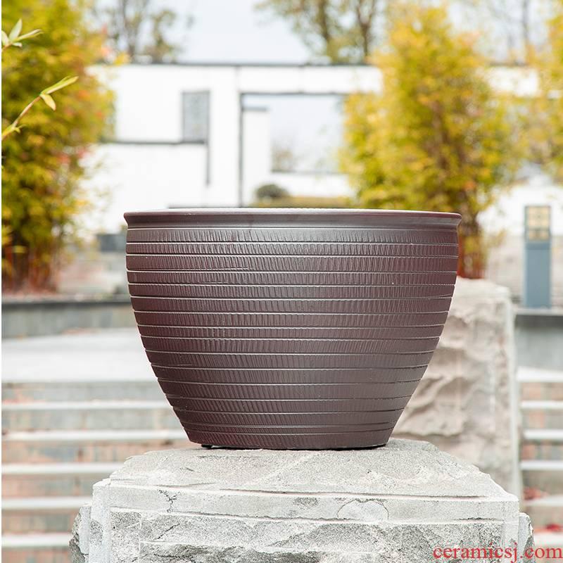 Jingdezhen cylinder tank water lily lotus basin of cycas bonsai trees to raise a flower pot king garden ceramics sitting room