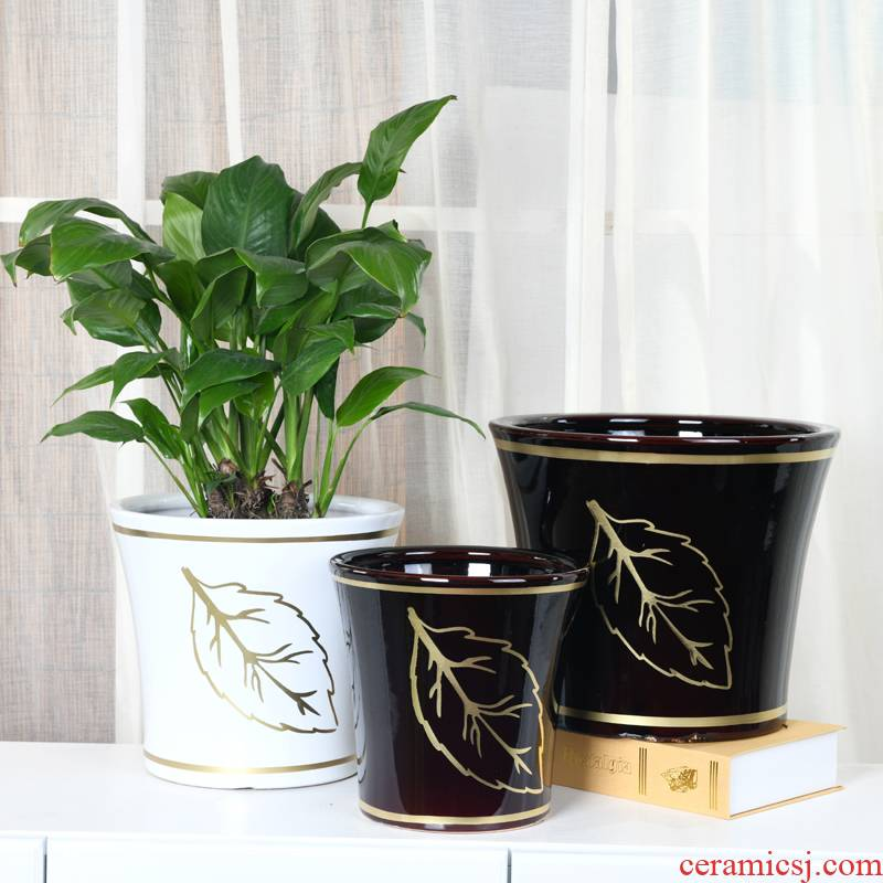 Extra large ceramic flower pot Chinese wind see colour white interior courtyard ground money tree tree planter bag in the mail