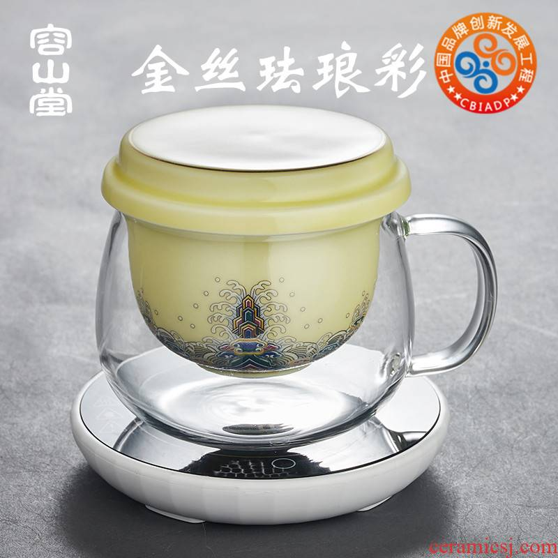 RongShan hall glass tea cup tea separation palace insulation cup of green tea office female ceramic filter tank