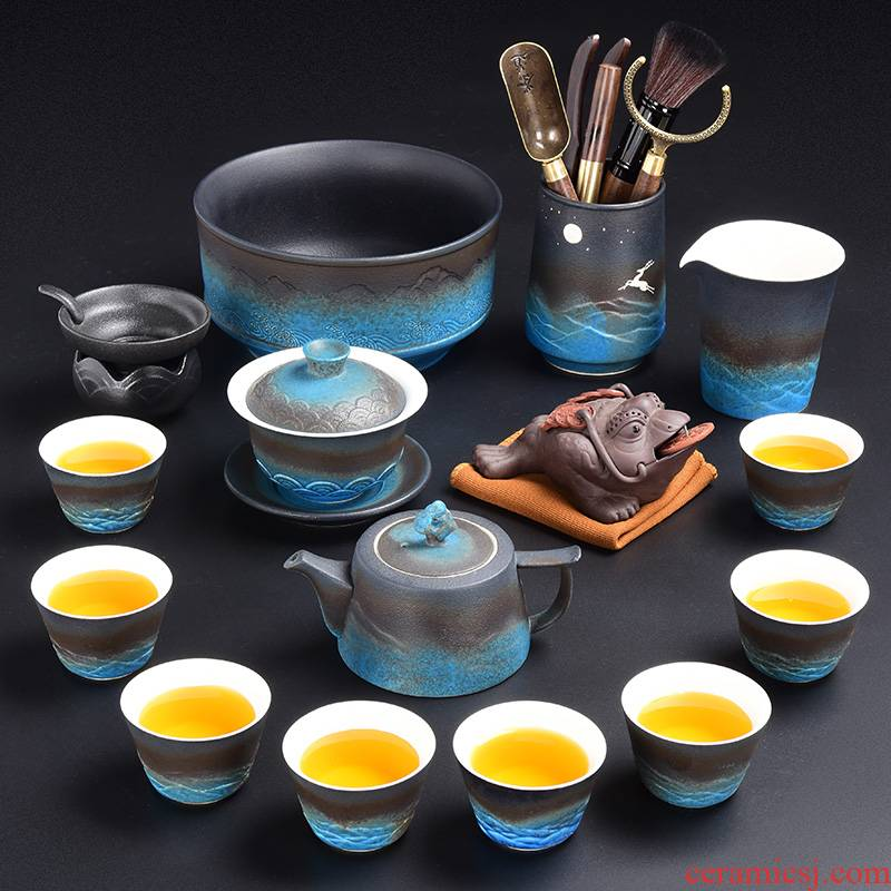 Tao blessing mountains made pottery kung fu tea set household ceramics contracted water type dry tea tea tray group