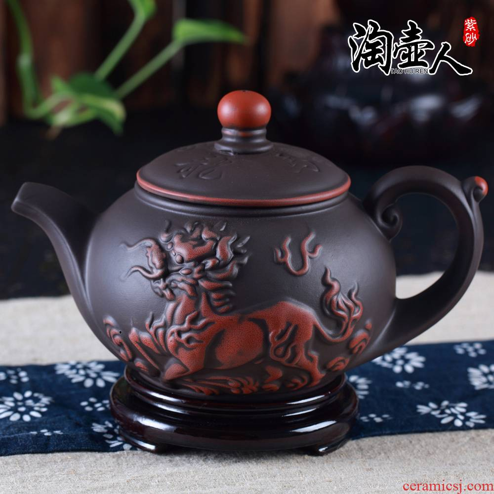 Large capacity yixing hand half a it 400 ml of archaize the dragon zhu clay ceramic double color kung fu tea kettle