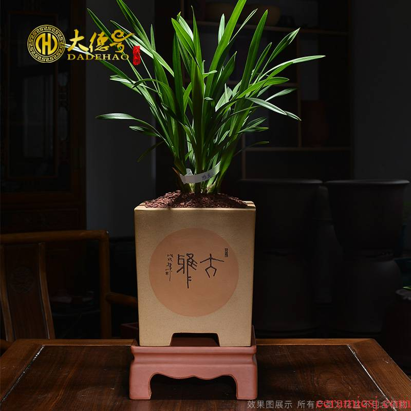 Greatness, sifang ceramic purple sand flowerpot bonsai pot facilities. We seasons orchid clivia flower POTS made clay with pallets