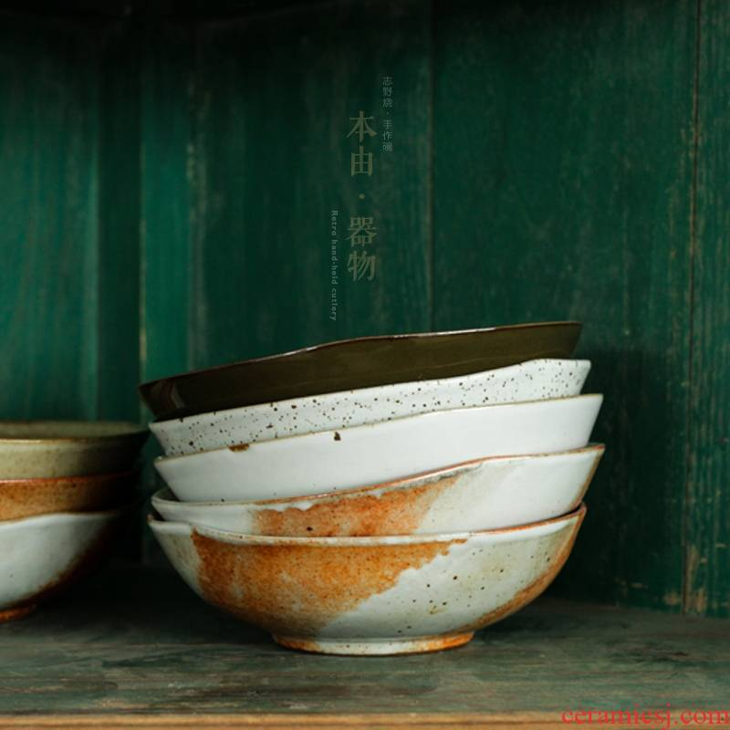 't from Japanese coarse pottery bowl reuse deep dish bowl bowl of irregular large flower bowl of ceramic tableware braise in soy sauce meat dishes