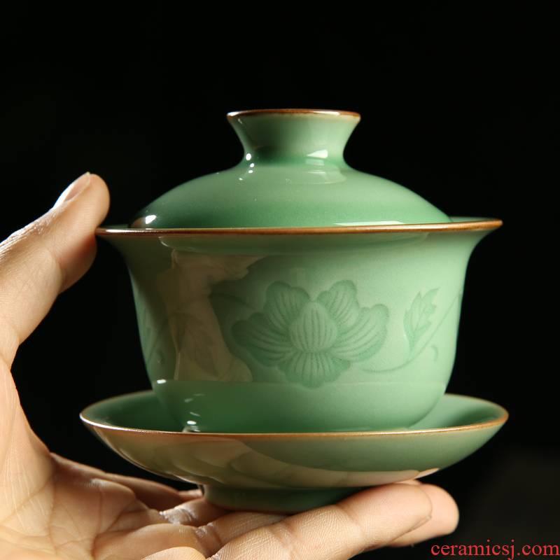 Poly real scene celadon kung fu tea cup wang wen cinnabar tire tureen ceramic bowl tea sample tea cup brother up by hand