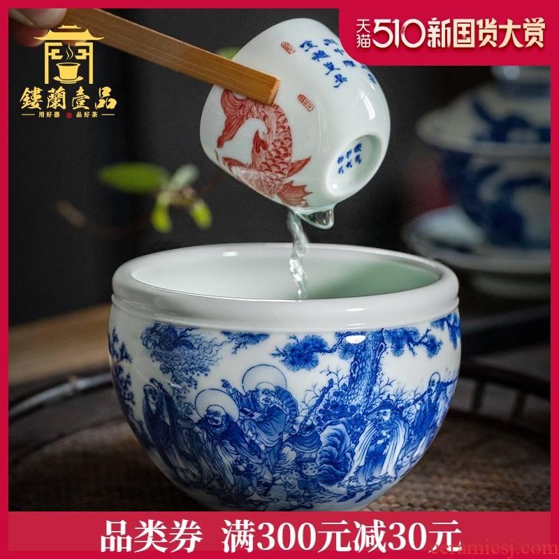 Eighteen Luo Hanjian jingdezhen hand - made ceramic tea wash in hot water tank water jar kung fu tea tea accessories