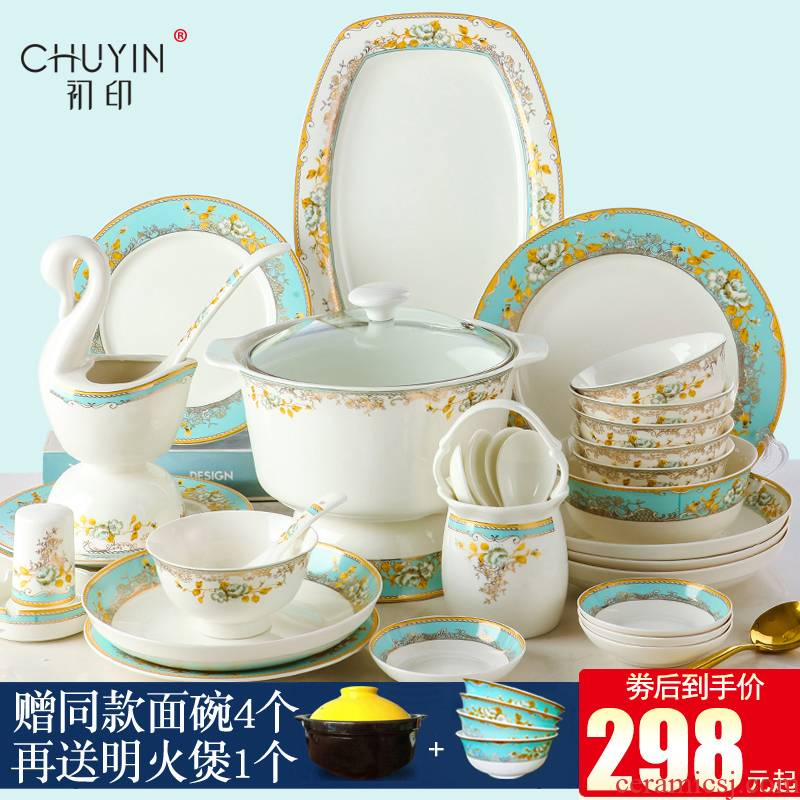 Ipads China tableware kit contracted combination dishes Chinese style up phnom penh jingdezhen set bowl dish dishes suit household
