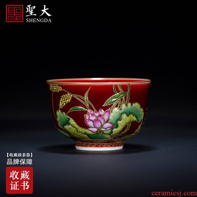 Holy big ceramic kung fu tea cups ruby red colored enamel paint lotus master sample tea cup all hand of jingdezhen tea service