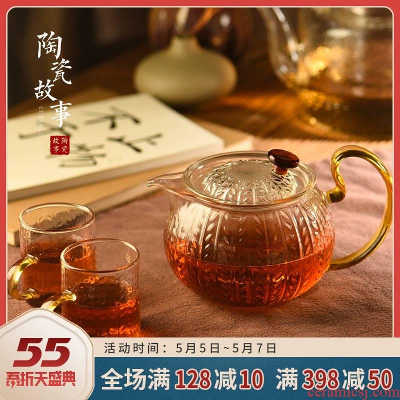 Ceramic glass teapot story high temperature resistant filter flower pot teapot household hammer little teapot tea set