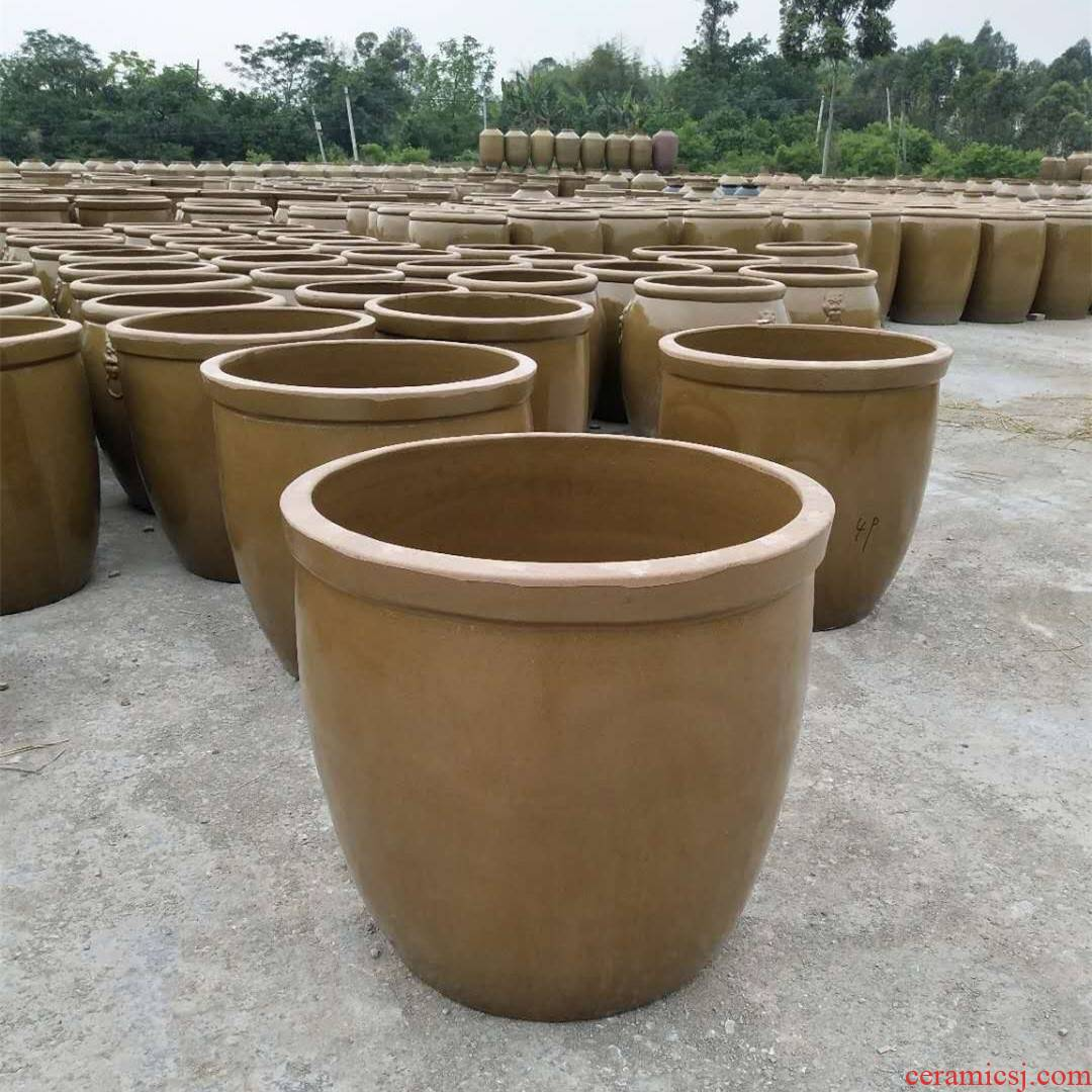 Clay barrel water lily raised tank lotus round small pack to heavy water storage tank water weng stone home