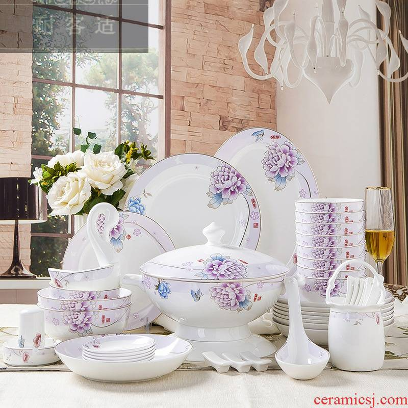 Guest comfortable resistant ceramic tableware dishes home creative gift set custom contracted bowls of plates of ipads porcelain industry