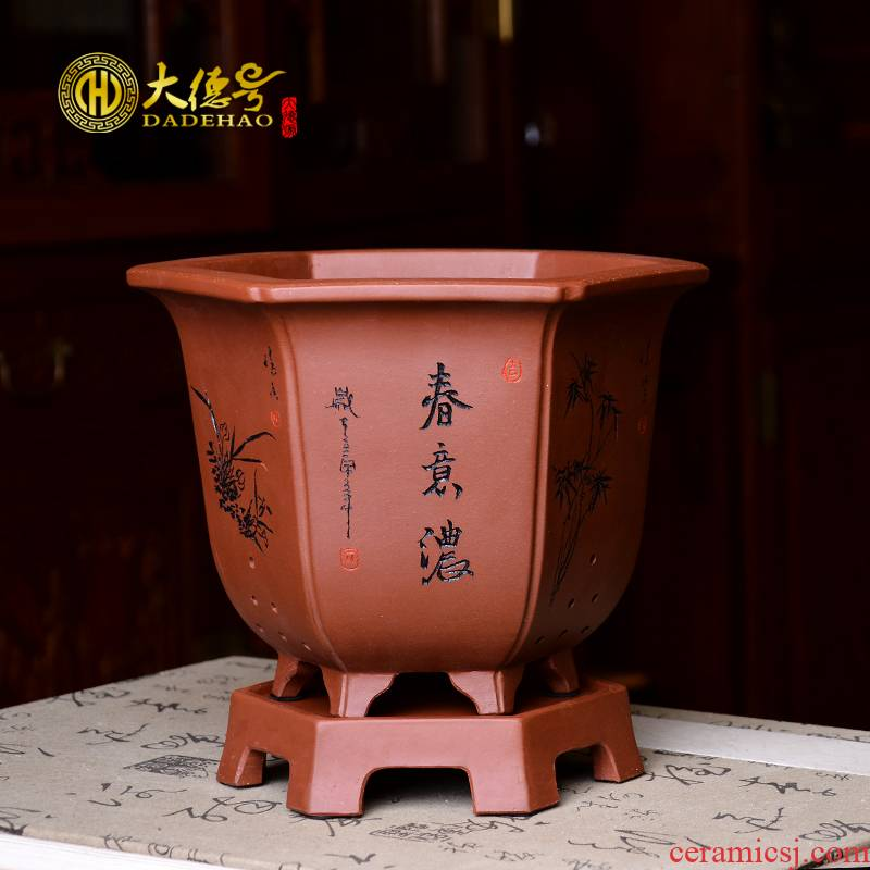 Greatness, violet arenaceous the six - party orchid flower pot basin of horticulture green plant bracketplant asparagus clivia ceramic pot