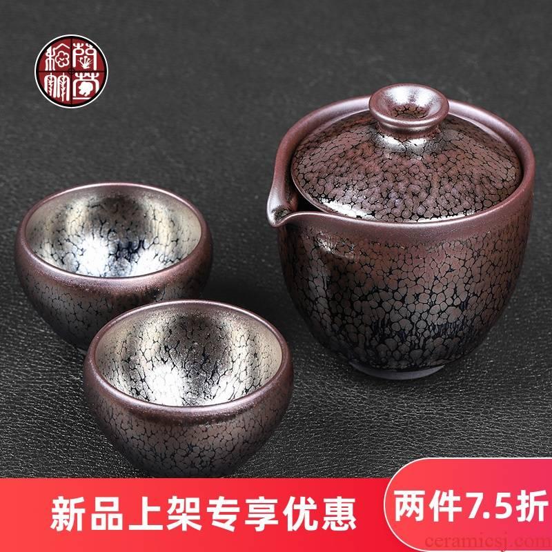 Built one hand grasp travel pot cup 2 retro office two tea set a pot of crack I undressed ore glaze