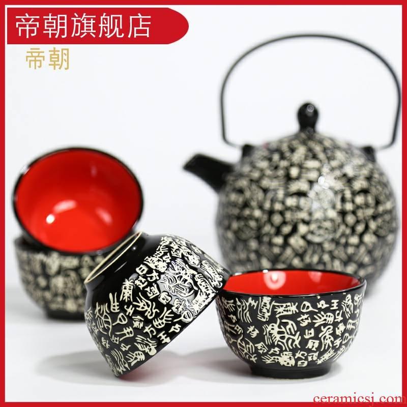 Emperor asahi type restoring ancient ways under the glaze color tea family teapot teacup cold ceramic kettle hotel kung fu tea set