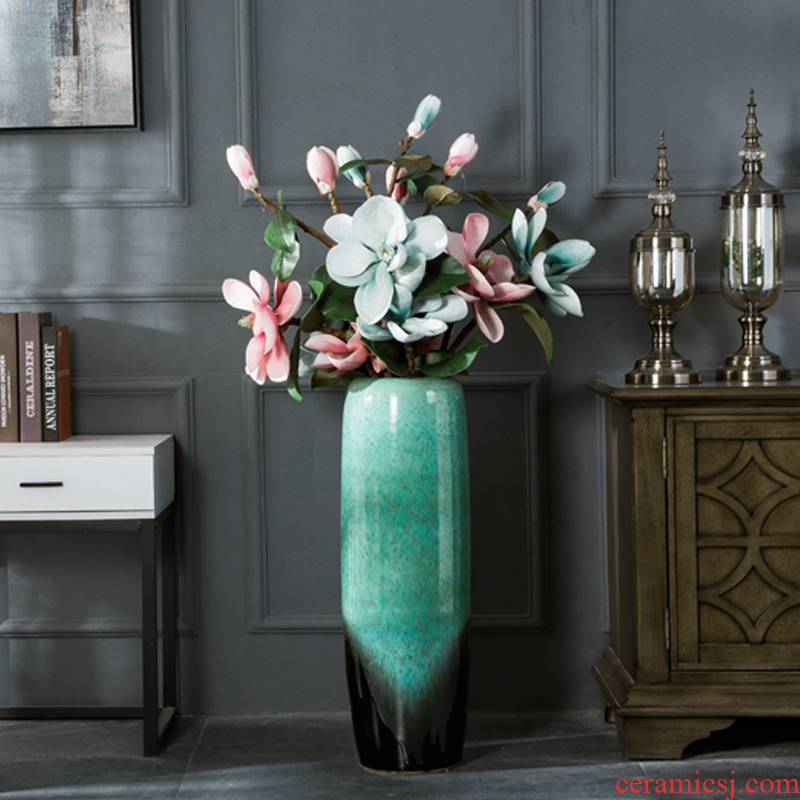 Jingdezhen dried flower vase landing large ceramic sitting room porch European I and contracted style flower arranging furnishing articles