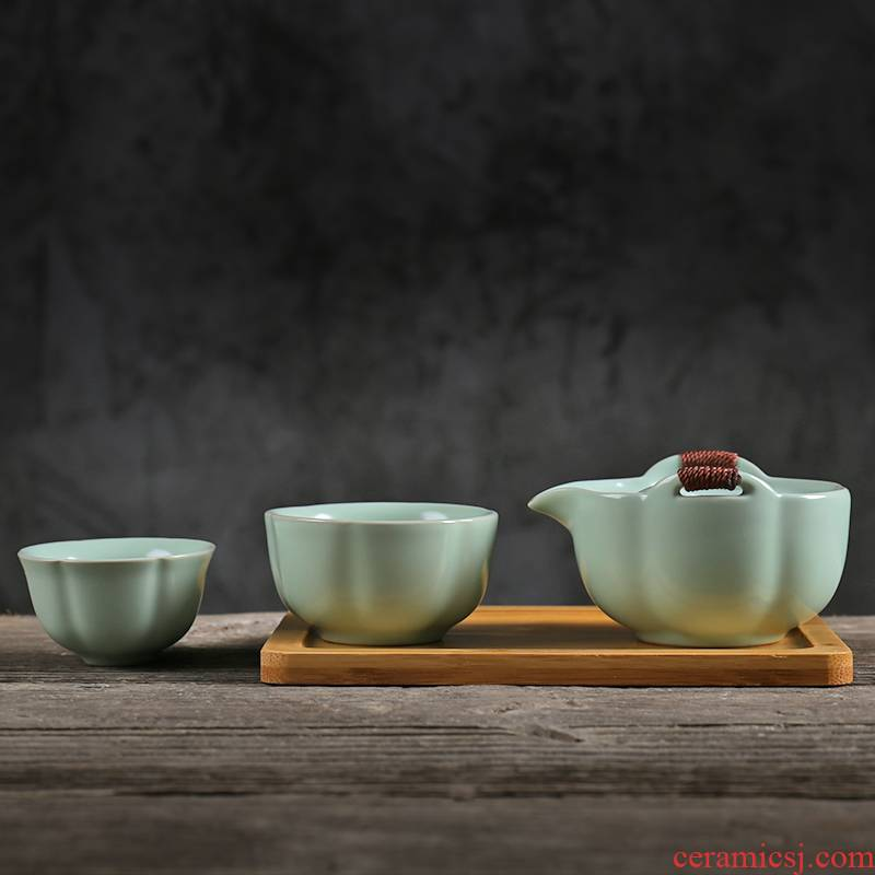 Petals your up with a pot of two cups of tea set travel tea set portable small crack cup ceramic teapot teacup