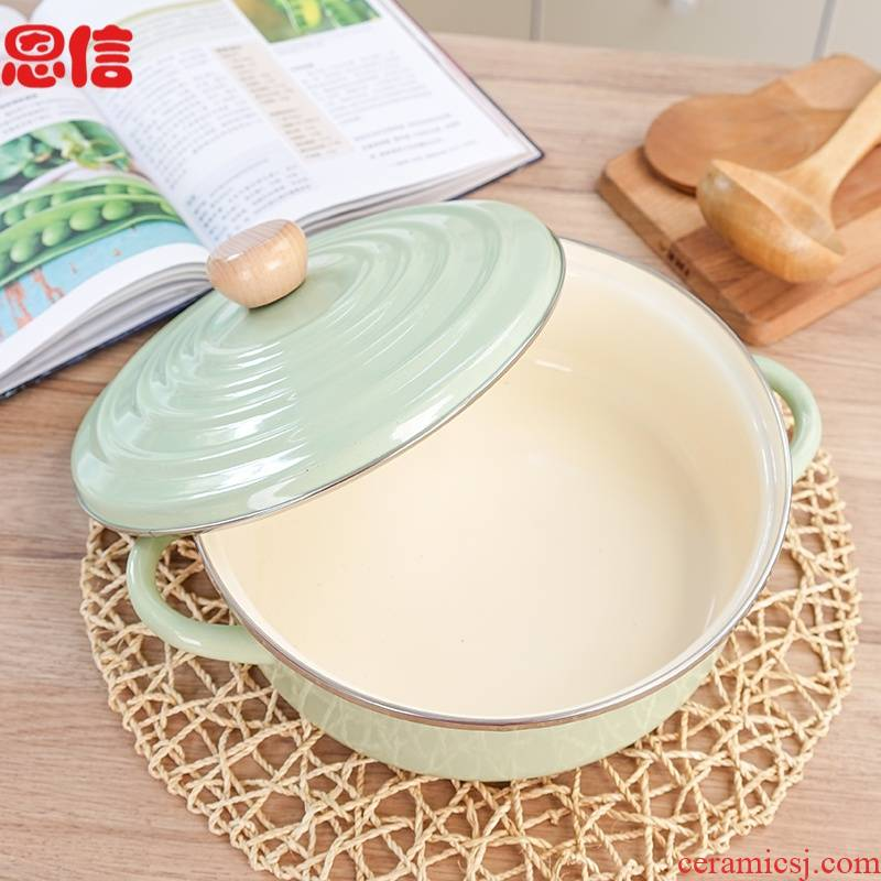 Enamel ears soup pot more Japanese Enamel pot stew 26 cm gas general induction cooker