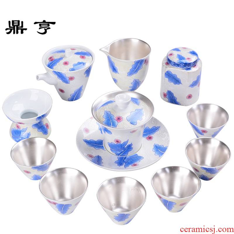 Ding heng jingdezhen tasted silver tea service of a complete set of 999 sterling silver gilding kung fu tea set ceramic fair office home tureen cup