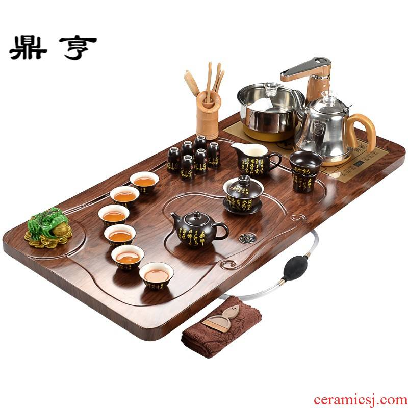 Ding heng tea set ceramic household of Chinese style restoring ancient ways of a complete set of contracted automatic modern kung fu solid wood living room