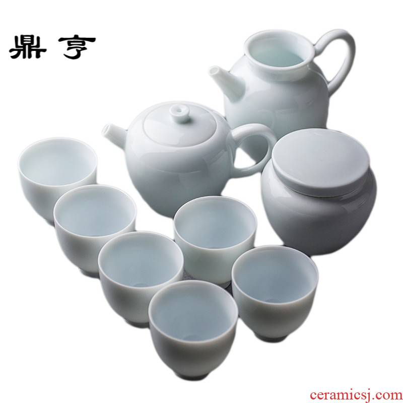 Ding heng missile city green white porcelain tureen tea set gift household celadon glass teapot teacup of a complete set of kung fu