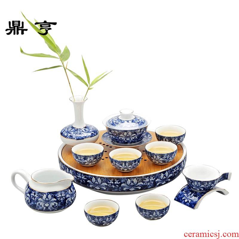 Ding heng kung fu tea set suit household jingdezhen water storage of a complete set of ceramic tea set ground blue and white porcelain tea POTS