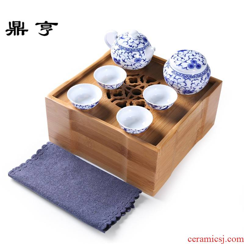 Ding heng suit blue and white travel tea set tea kettle Japanese portable home office tea in the living room