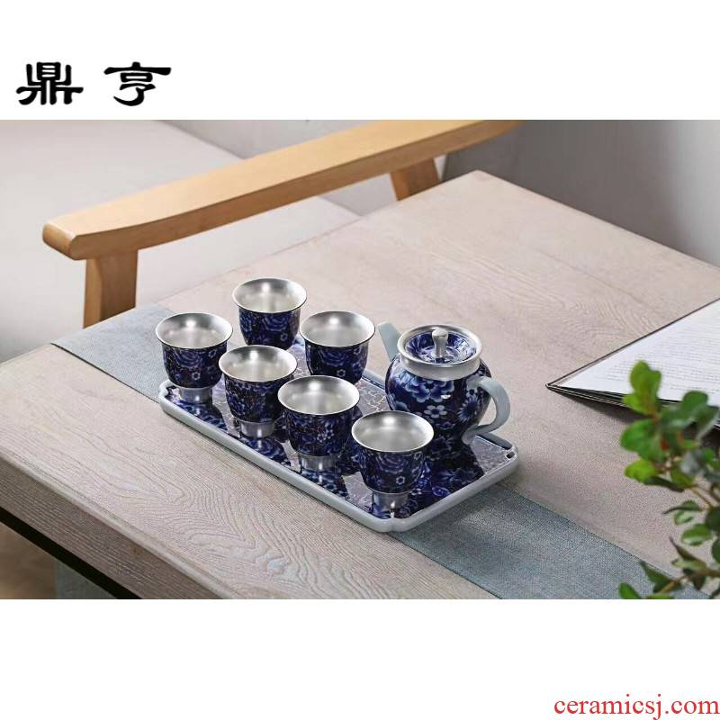 Ding heng coppering. As 999 silver, blue and white porcelain cup silver ceramic teapot single cup tea tray was master cup silver kung fu tea set