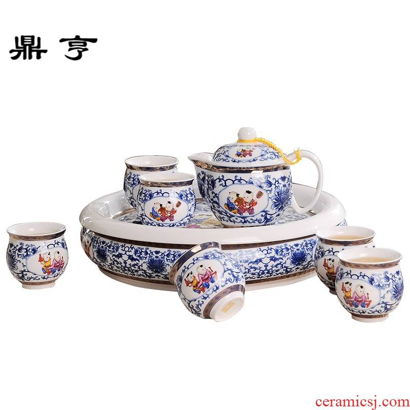 Ding hunter price of jingdezhen blue and white lad household porcelain tea set a complete set of ceramic kung fu tea cup double the teapot