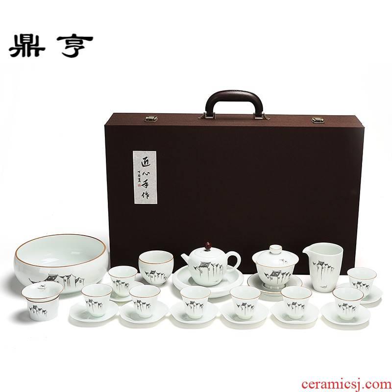 Ding heng hand - made ceramic kung fu tea set tureen tea cups to wash to the creative gift set logo