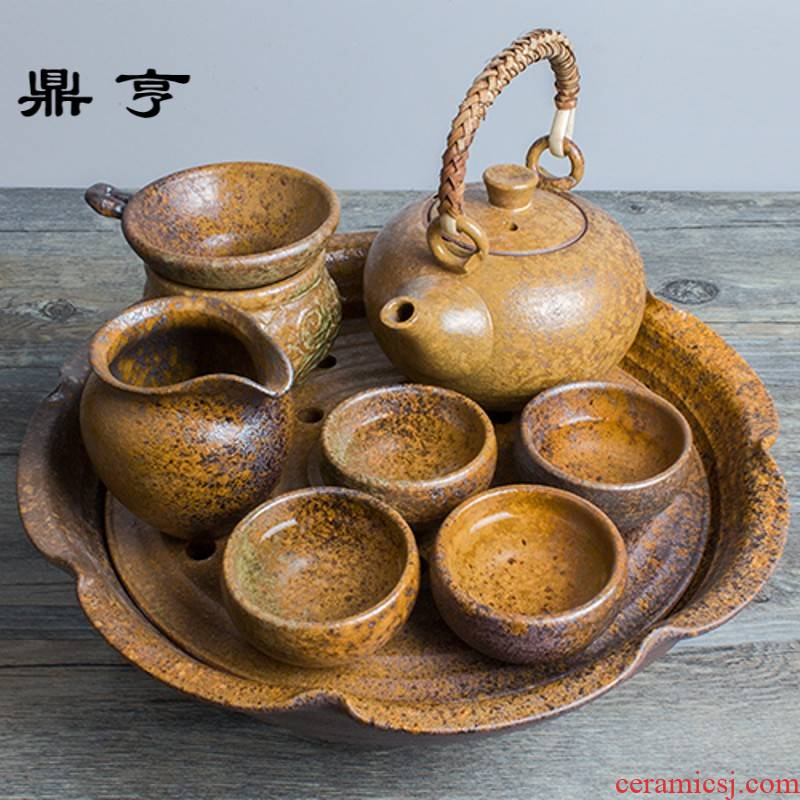 Ding heng 【 】 Japanese coarse pottery tea sets Japanese tea tea set tea service of a complete set of eight times
