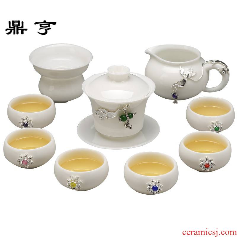 Ding heng jingdezhen suet jade porcelain kung fu tea set home three to I and contracted tea ware ceramic cups