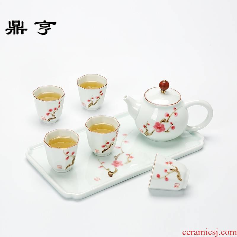Ding heng jingdezhen kung fu tea set suit portable travel simple ceramic teapot tea tray cups white porcelain