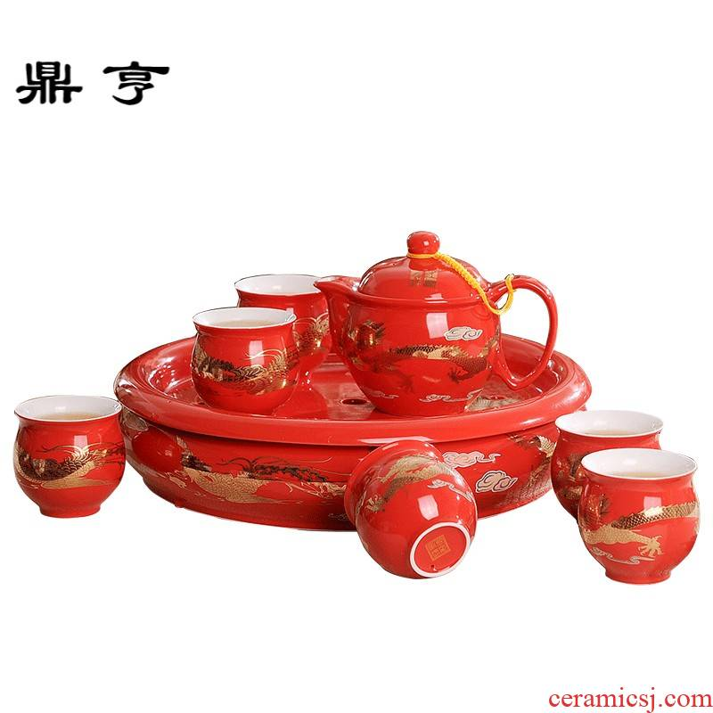 Ding hunter price of jingdezhen ceramic tea set red jinlong household ceramics kung fu tea cups of a complete set of double the teapot