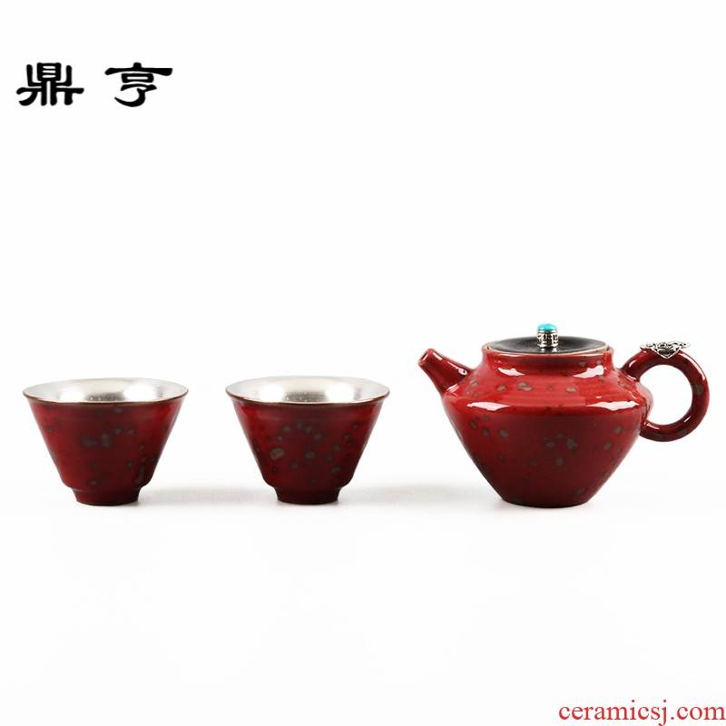 Ding heng wood in 99 sterling silver ceramic up with a pot of tea tasted silver gilding cup travel two cups of kung fu suit