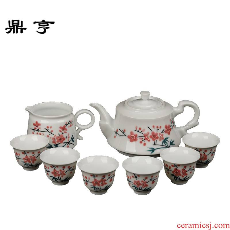 Ding heng retro jingdezhen ceramic institute, 7501 porcelain hand - made water name plum lines 8 head MAO porcelain kung fu tea set