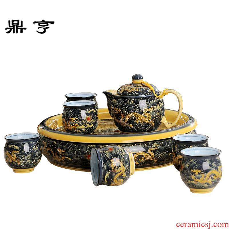 Ding hunter price of jingdezhen ceramic tea set hai - long huang household ceramics kung fu tea cups of a complete set of double the teapot
