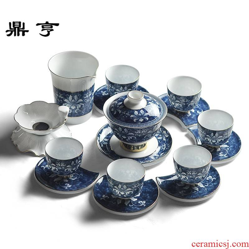 Ding heng blue and white porcelain tea sets up phnom penh household ceramics icing on the cake of a complete set of kung fu tea sets full set gift box
