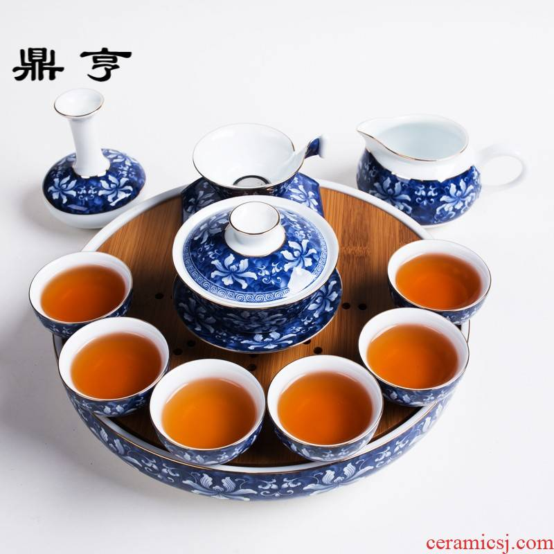 Ding heng blue to blue and white porcelain suit household kung fu tea set of a complete set of jingdezhen ceramic paint cup tea tray