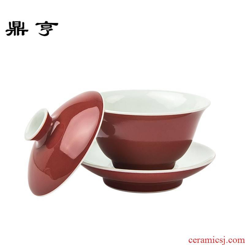 Ding heng ji red it tureen tea cups jingdezhen manual undressed ore color glaze kung fu tea set tea bowl