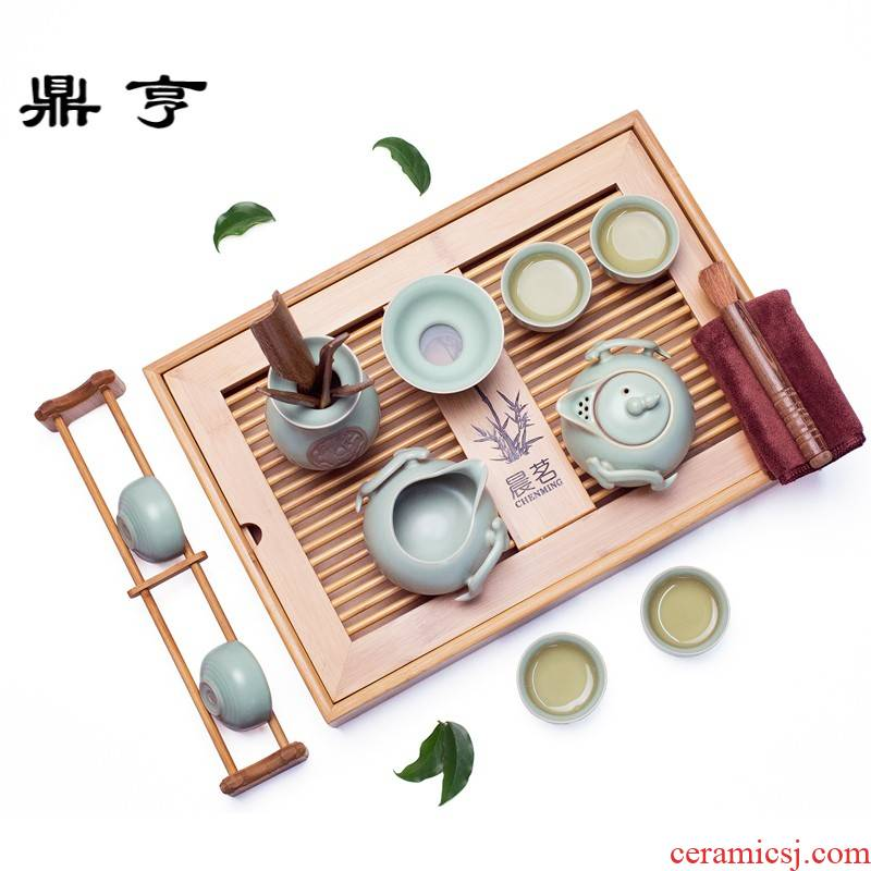 Ding heng your up ceramic tea set of a complete set of the home of kung fu tea tray lid bowl tea sea) tea cups