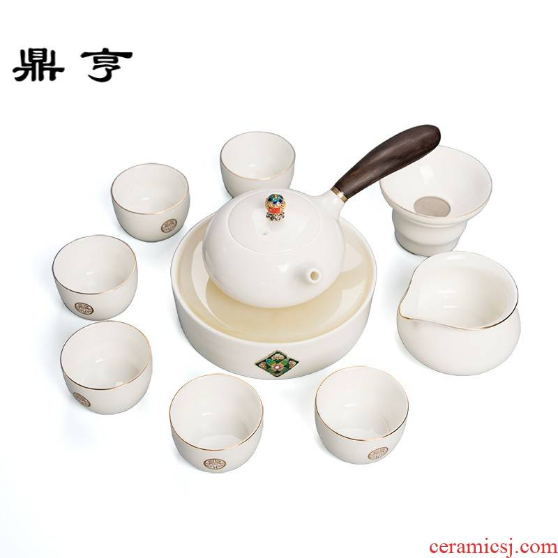 Ding heng dehua suet jade porcelain tea set suit white porcelain household tureen tea cup teapot a complete set of kung fu tea taking
