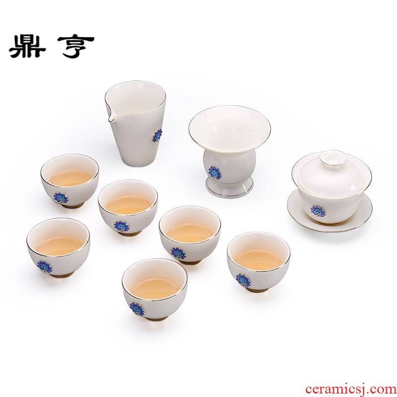 Ding heng white porcelain kung fu tea set jade suit dehua porcelain of a complete set of tea tureen ceramic cups of household contracted by hand